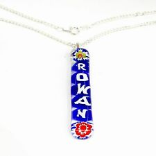 Personalised Glass Pendant Nacklace. Silver Chain with Custom Millefiori Text