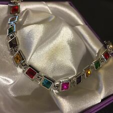 "White Gold Fill Bracelet, Sq Multi Coloured CZ Gems, 18cm/7"" Gift Boxed Plum UK"