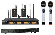 Professional UHF 4X100 Channels Wireless 2 Handheld & 2 Lavalier Microphone