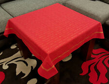"Lovely Red ""Merry Christmas"" Gold Printed 100% Cotton Xmas Tablecloth 36"" Square"