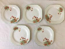 Noritake Small Sandwich Plates Red Floral Pattern 1940s x 5