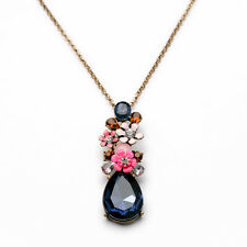 N821 Betsey Johnson Rhinestone Gem Flower Floral Bouquet Hydrangea Necklace AU