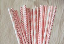 150x Blush pink mixed paper straws wedding 1st baby girl shower party tableware