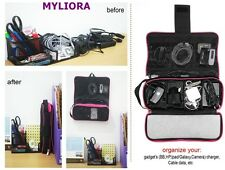 MYLIORA Portable Travel Cables Organiser Gadget Chargers Organizer in BLACK
