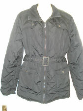 Womens So Fabulous Black Quilted Belted Leatherette Trimmed Jacket 14 UK