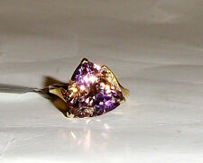 10K Yellow Gold Multi-Color Ametrine Solitaire & W Topaz Ring, Size 5, 6.42(TCW)
