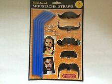 5 x Black Moustache + 5 Drinking Straws Fun Party Hen Night Stag Do Accessories`
