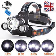LED Headlight Torch 8000Lm 3x Cree XML T6 Headlamp Head Light Lamp 18650 Battery