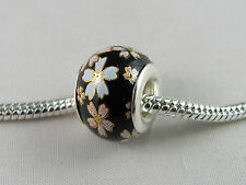 SILVER CORE MURANO BLACK FLORAL GLASS BEADS EURO STYLE CHARM BRACELETS #MSB 125