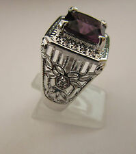 925 Silver Ring With Natural Amethyst Size R 1/2 US 9 (rg2427)
