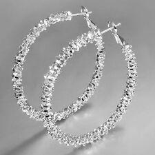 """NS Wholesale Women Jewelry 925Sterling Silver Plated """"Stars"""" Hoop Dangle Earring"""