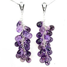 Sterling Silver 925 Briolette Faceted Genuine Natural Amethyst Earrings