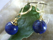 14 mm Designer Ohrringe Ohrhänger echte Lapis Lazuli mit Gold Brisuren