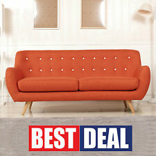 Fabric Cover Stylish 3 Three Seater Orange Color Couch Lounges Suit 6ixty Sofa