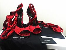 Brand New Authentic Dolce & Gabbana D&G Shoes Lace Ups Heels Red 9 EU40 RRP $950