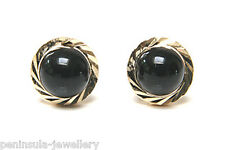 9ct Gold Black Onyx studs earrings Gift Boxed Made in UK