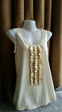 SEE BY CHLOE LADIES FABULOUS SOFT CREAM  RUFFLE FRONT SLEEVELESS TOP UK 8 US 4