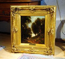 Landschaftsgemälde mit Personen 1870 sig J Vermand, Frankreich,Top!!!