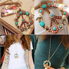 Fashion Vintage Peace Sign Pendant Long Necklace Crystal Choker Collar For Women