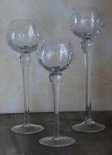 3er Set Windlichter aus Glas, Dekoglas, Glaskelch cracking Glas 54431