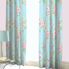Canterbury Floral Blue Pink Rose 66x72 Fully Lined Curtains Matches Bedding Set