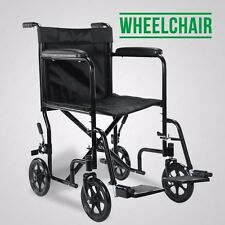 Lightweight Transit Comfortable Portable Folding Travel  Wheelchair With Brakes
