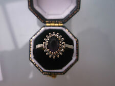 Women's 9ct Gold Ring Amethyst & Diamond Ring 1ct Size O Weight 2.1g Stamped