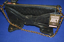Juicy Couture Black Shimmer Leather Bow Bag NEW BNWT
