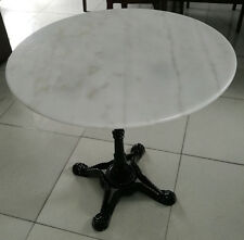 ROUND White Marble Top Table 80cm wide / Black cast iron base SEATS 4 DELIVERED*