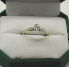 Vintage Lovely 18ct Gold And Platinum 0.33ct Diamond Solitaire Ring