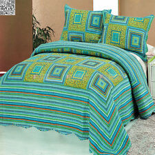 Checked Patchwork Queen King Bed Quilted Bedspread Coverlet Set New 100% Cotton
