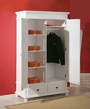 Kleiderschrank Schlafzimmerschrank Schlafzimmer weiß massiv 2-türig 2 Schubladen