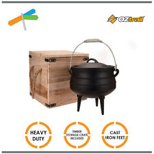 Oztrail Heavy Duty Cast Iron Potjie Pot 8L Cooker Camping Outdoor Picnic