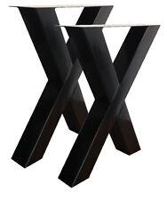 2 Stück Tischgestell Schwarz Stahl Tischuntergestell 100x100mm Rustikal  Tisch