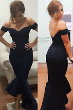Sexy Off Shoulder Mermaid Slim Maxi Formal Prom Party Gown Evening Long Dress L