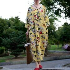 Rural Style Casual Oversize Loose Maxi Fit Flower Birds Women Long Floral Dress