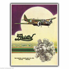 BRISTOL AEROPLANES AIRPLANES Vintage Retro Advert METAL WALL SIGN PLAQUE poster