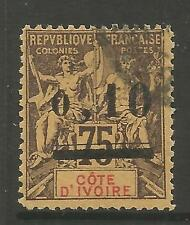 IVORY COAST. 1904. 10c on 75c Brown on Yellow. SG: 19. Fine Used.