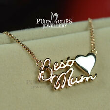"18CT  Rose/White Gold Plated ""Best Mum"" Pendant Necklace For Mothers"