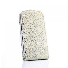 Flip case Handy Tasche Samsung I9300 Galaxy S3 SIII Weiss-Gold Schutz Hülle Etui