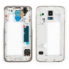 Samsung Galaxy S5 SM-G900F Mittel Rahmen Gehäuse Frame Housing Silber - Weiß