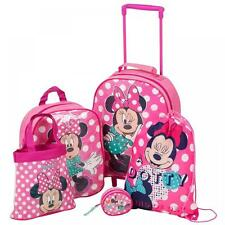 Disney Minnie Mouse 5 Pc Travel Luggage Set Backpack handbag Trolley Bag Purse