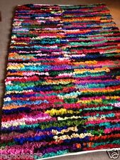 QUICK HALF PRICE! EXTRA LARGE MULTI COLOUR SHAGGY RECYCLED RAG RUG 180cm x 270cm