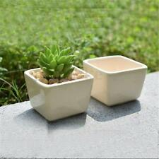 Mini White Ceramic Planter Succulent Flower Porcelain Pot Plant Box Garden Decor