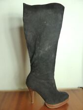 Black Faux Suede Knee high Stiletto Stacked heel boots Nina Boho sz 6.6