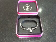 NIB Juicy Couture New & Genuine Silver Bracelet With Safety Pin & Stone Charm