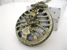 New Large Pirate Skull Goth Steampunk Antique Bronze  Pocket Watch Necklace Gift
