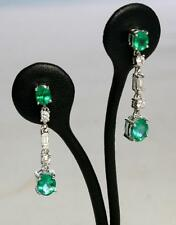 ~Solid 18K White Gold Oval Cut Natural Emerald & Diamond Dangle Earrings~