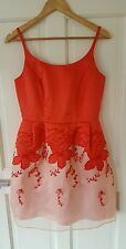 BNWOT £75 ASOS Size 10 Pinky Red Floral Organza Dress Wedding Party Christmas