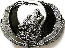 Buckle Wolf bei Vollmond, schwarz - Gürtelschnalle, Western, Line Dance